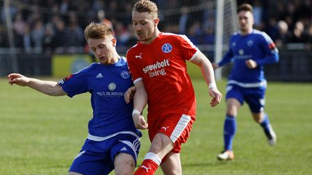 Byron Lawrence (left) challenges Leiston's Conor Hubble during Billericay's 2-0 win last season.