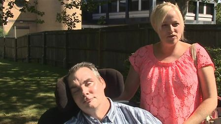 Simon Dobbin pictured with his wife Nicole outside Basildon Crown Court after 12 men were sentenced