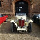 A 1949 MG at the front door of Layer Marney Tower from a previous run of The Layer Marney Cup. Pictu