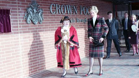 Princess Diana with Sheila Baguley, the Mayor of Ipswich, while visiting Crown Pools in 1990
