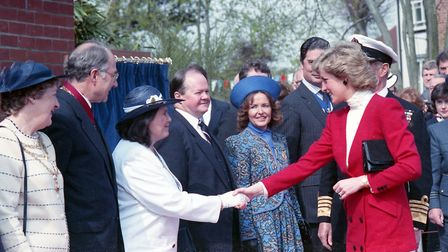 Princess Diana meeting local dignitaries when she visited Colchester and Frinton in April 1988