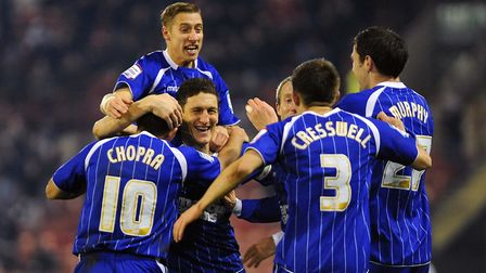 Keith Andrews celebrates his second goal at Oakwell