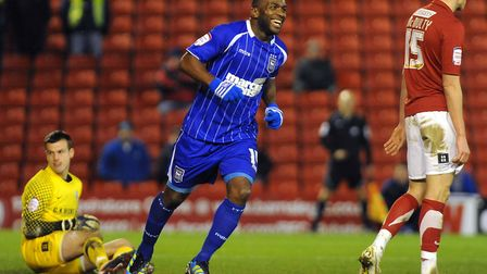 All smiles for Jason Scotland after adding the fifth goal at Barnsley