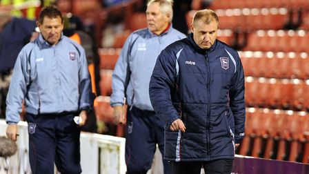 Paul jewell has a long walk back to the dressing rooms at Oakwell as Ipswich face a two goal deficit