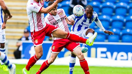 Recent recruit Kyel Reid, on his U's league debut against Stevenage last weekend. Other new players