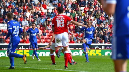 David McGoldrick scores his equaliser at Barnsley Picture Pagepix