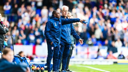 Town manager Mick McCarthy and assistant manager Terry Connor give instructions during the Ipswich T