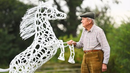 Tim Fogden, 88, a retired agricultural engineer, has taken up a new hobby creating horse sculptures