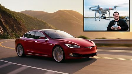 The Tesla Model S 100D that Matt Porter, pictured inset, will be driving on his ,1200 mile challenge