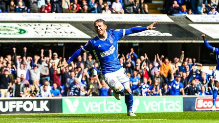 Joe Garner wheels away after scoring the only goal in Ipswich Town's win against Birmingham City at