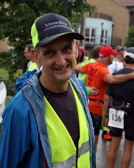 The 100 mile national race walking championships in Bury St Edmunds. Race organiser, Kevin Marshall.