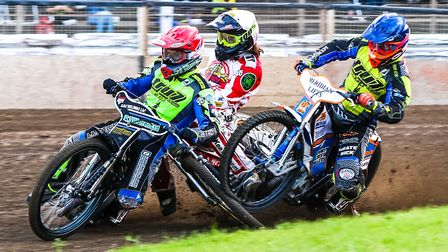 Glasgow's Richard Lawson is the rider crashing between Witches pairing Danny King (red helmet) and K