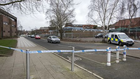 The cordoned off scene of the alleged sexual assault in Rope Walk. Picture: ASHLEY PICKERING