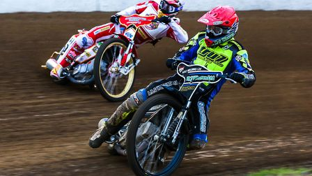Danny King leading Ritchie Worrall during heat six of the Ipswich v Glasgow meeting earlier in the s