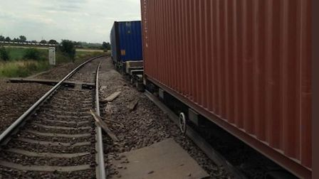 The derailed freight train near Ely. Picture: CROSS COUNTRY TRAINS