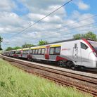 """Greater Anglia's new """"Stadler Flirt"""" Intercity trains due to enter service in two years' time. Pictu"""