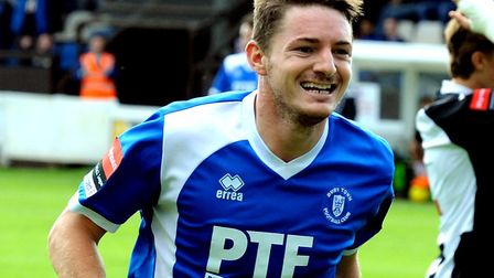 Ollie Hughes, who scored twice in Bury Town's 6-0 win at Hertford. Picture: ANDY ABBOTT