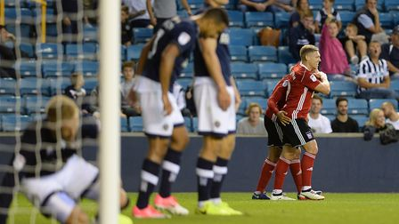 Martyn waghorn celebrates his second goal just before half-time at Millwall Picture Pagepix