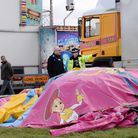 Police and forensic officers at the scene where seven-year-old Summer Grant died when a bouncy castl