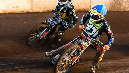 Connor Mountain right, seen here riding for the Ipswich Witches, was in fine form for the Mildenhall