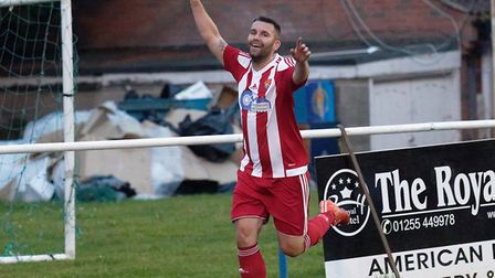 Stuart Ainsley celebrates netting a rare goal for Felixstowe and Walton United in their win at FC Cl