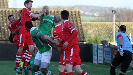Ian Miller challenges for the ball from a corner. The former Ipswich Town man has joined AFC Sudbury