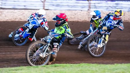 Cameron Heeps (red helmet), Chris Harris (white), Mason Campton (yellow) and Nathan Greaves in actio