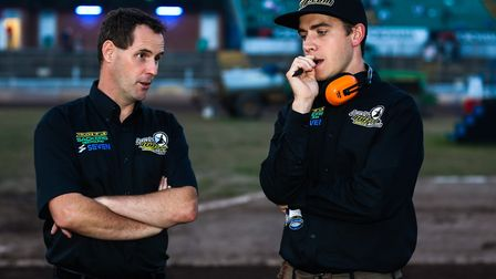 Ipswich Witches director of speedway Chris Louis (left) and team manager Ritchie Hawkins.