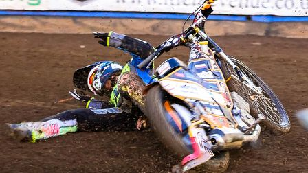 Connor Mountain crashes out of heat four of the Ipswich v Peterborough meeting at Foxhall Stadium
