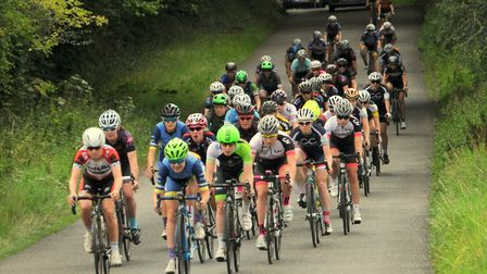 The bunch at the Women's Regional Championship with Ipswich rider Rebecca Johnson (in blue) and Gemm