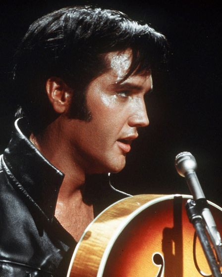 Elvis pictured giving his first l;ive performance for eight years during his 1968 NBC TV Special. Ph
