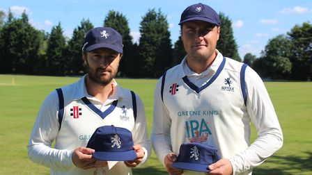 Jaik Mickleburgh and Michael Comber with their Suffolk county caps. Picture: NICK GARNHAM