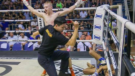 Joe Le Maire celebrates a knockout victory during a fight in Thailand. Picture: MR LEAF/SUMALEE BOXI