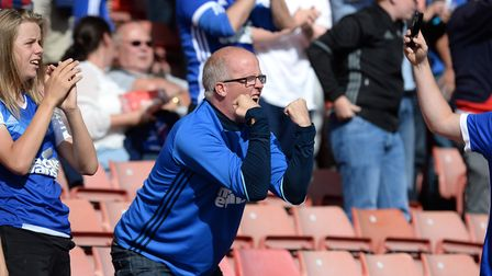 One fan shows his delight after the win at Barnsley. Picture: PAGEPIX LTD
