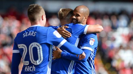 David McGoldrick celebrates at Barnsley with Martyn Waghorn Picture Pagepix