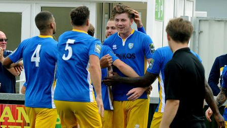 George Sykes celebrates his opening goal for Canvey. Picture: ANDY ABBOTT