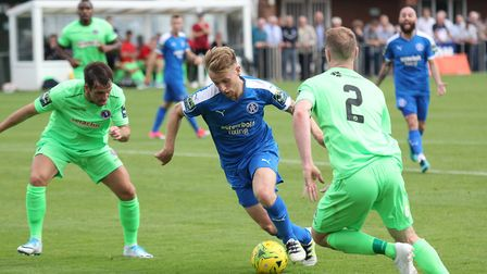 Byron Lawrence on the ball for Leiston. Pictures: DOMINIC WHITEN