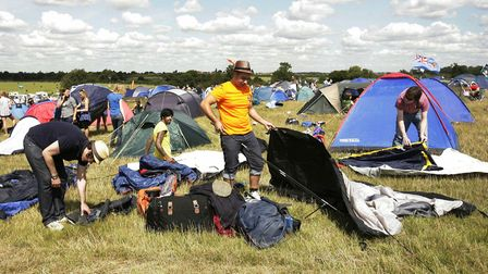 Festival goers at the campsite on the eve of the V Festival in Chelmsford, Essex from a previous yea