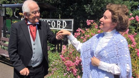 Mother meets the Old Gentleman in Stowmarket Dramatic Society's production of the The railway Childr