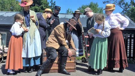 Mr Szezcpansky collapses on the station platform in Stowmarket Dramatic Society's production of the