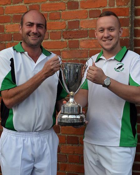 Martin Heitzman and Mark Royal (Rookery Bowls Club) with the Pairs Cup.