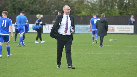 Mark Morsley, at his final game in charge of Needham Market, last season.