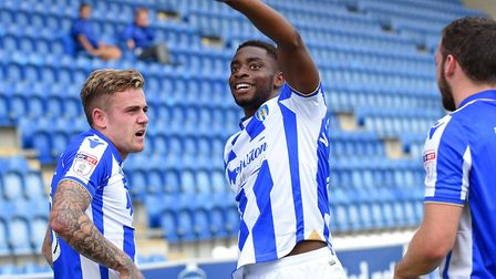 Kane Vincent-Young celebrates scoring the U's fourth in last month's 5-1 victory over Forest Green R