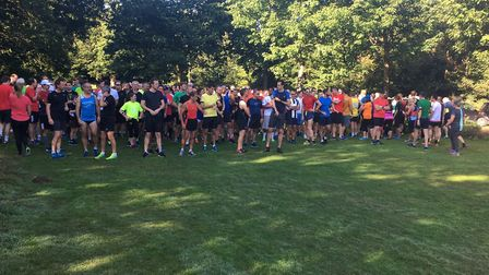 Runners assemble at Chantry Park for the start of the 260th Ipswich Parkrun last Saturday week.