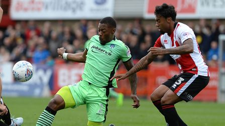 Ryan Jackson challenges for the ball during last weekend's 3-1 defeat at Cheltenham. Jackson is look