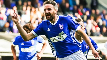 Cole Skuse celebrates after scoring to give Town a 1-0 lead. Picture: STEVE WALLER WWW.STEPHE