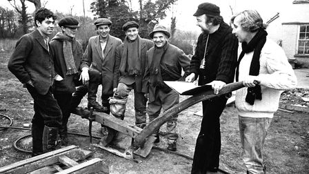 Sir Peter Hall and Ronald Blythe on the set of Akenfield in 1974