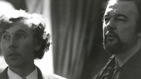 """Ronald Blythe (left) and Peter Hall, """"Akenfield's director. Ronald wrote the book on which the film"""