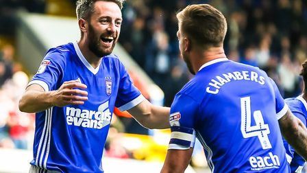 Cole Skuse is congratulated by skipper Luke Chambers after scoring to give Town a 1-0 lead. Picture: