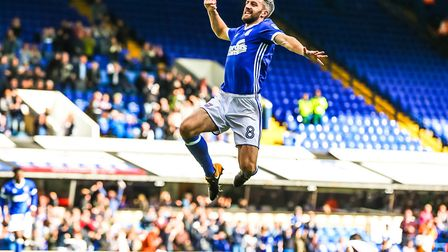 Cole Skuse jumping for joy after a rare goal from him gave Ipswich Town a 1-0 lead against Bolton. P